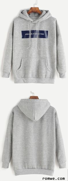 Fall Fashion - Grey Letter Print Drop Shoulder Hooded Sweatshirt from rowme.com