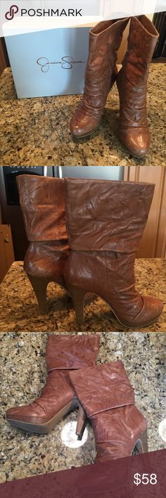 """Jessica Simpson Arnelia boots size 10 Used, good condition. Worn under 10 times. Soft, slouchy, and hip, the Arnelia boot from Jessica Simpson is sure to be a perennial pick. The Arnelia puts an emphasis on rich leather with a simple silhouette and unforgettable 4 1/2"""" heel. There's a 3/4 inch platform. Heel Height: 4 1/2"""" Front Height: 3/4"""" Shaft Height: 9"""" (size 8 1/2) Circumference: 13 1/2"""" (size 8 1/2) Fit: True to Size Upper: Cabretta Distressed leather, Veg Crunch Jessica Simpson Shoes…"""