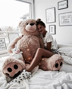 girl, teddy bear, and style image