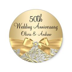 Gold Bow & Floral Swirl 50th Anniversary Stickers.  Personalize it.