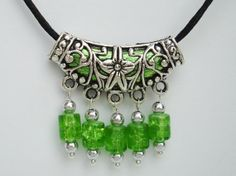 Tibetan Silver Necklace on Black Satin Cord Shades Lime Green