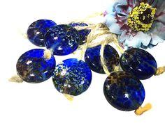 Electric Blue Color Round Handmade Lampwork Glass Beads From Murano Glass 8 Pcs #HandmadeLampworkBeads #Lampwork