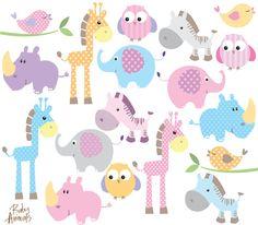 Baby Animal Clipart Clip Art Cute Little Animals Baby Shower Pastel #clip art #baby shower