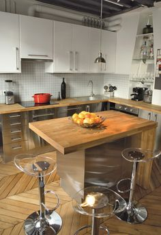 Cuisine en u ouverte avec retour snack meuble de cuisine - Mini table cuisine ...