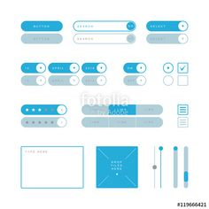 Вектор: UI design elements vector. Button, search field, selector, checkbox, toggle, radio button, menu links, rating stars, text type field, drop files field, scroller etc.