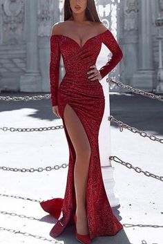 Red Irregular Sequin Glitter Sparkly Off Shoulder Backless Side Slit Long Sleeve. - Red Irregular Sequin Glitter Sparkly Off Shoulder Backless Side Slit Long Sleeve Wedding Mermaid Banquet Party Maxi Dress Cute Prom Dresses, Prom Outfits, Gala Dresses, Elegant Dresses, Beautiful Dresses, Sexy Dresses, Awesome Dresses, Summer Dresses, Wedding Dresses