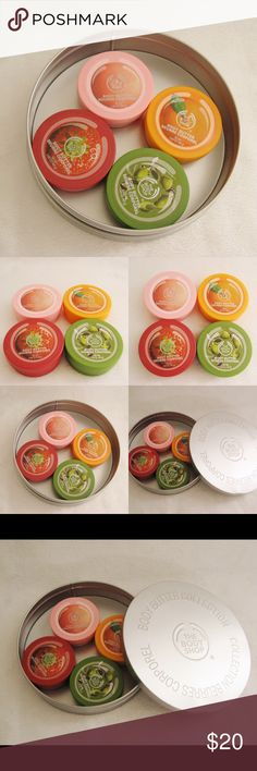 The Body Shop Body Butter Collection The Body Shop Body Butter Collection. New. Never used. These are small/travel size. Comes with the reusable tin can. Includes: ~Pink Grapefruit Body Butter 50ml ~ Strawberry Body Butter 50ml ~ Olive Body Butter 50ml  ~ Satsuma Body Butter 50ml ~❌SWAP❌TRADE ~ ✔️❤️Bundles ~✔️Smoke-free/pet-free home The Body Shop Makeup