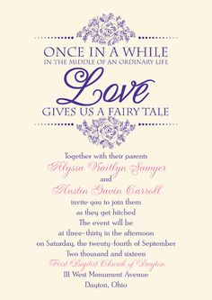 Fairy Tale Themed Wedding Invitation Once In A While The Middle Of An Ordinary Life Love Gives Us From Invitations By Dawn