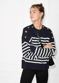 & Other Stories image 2 of Stripe Knit Sweater in Blue / White Stripe