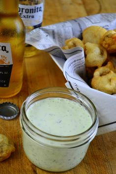 Beer Battered Mushrooms with Herbed Ranch Dip