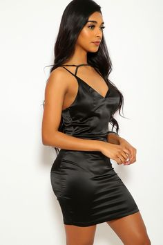 Black Satin Strappy Caged Party Dress Ball Dresses, Sexy Dresses, Dress Outfits, Bodycon Dress Parties, Party Dress, Beautiful Eyes, Gorgeous Women, Satin Nightie, Clubwear For Women
