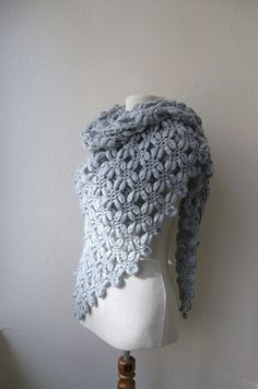 Hand crochet triangle bubble shawl mohair yarn by KnitAndWedding, $88.00