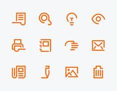 Triumph-Adler by Jens Windolf  Die für eine Vertriebs-Anwendung entwickelte Icon-Familie folgt leitmotivisch der Linienfühurng einer Schrift. Wie geschrieben und mit offenen Enden, die aus einem Schreibfluss resultieren, entsteht eine sowohl freundliche als auch persönliche Zeichensprache.  #icon #symbol #picto