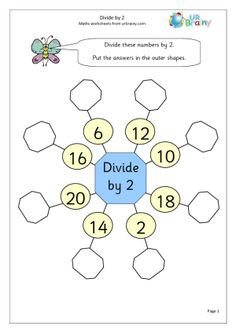 Divide by 2 Division Maths Worksheets For Year 2 (age Year 3 Maths Worksheets, Math Division Worksheets, Year 1 Maths, Division Activities, Fractions Worksheets, Math Fractions, Division For Kids, Teaching Division, Holiday Homework