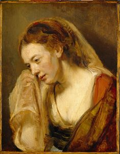 "Rembrandt, A Woman Weeping, mid to late 1640s, 8-1/2"" x 6-3/4"", Detroit Institute of Arts"