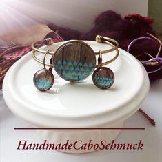 Cabochon Schmuckset Armreif/Armband 25mm und Ohrhänger 12mm Bronze Dreicke Geometrisch blau Holzoptik