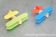 Airplane Clothespin Kids Craft, a quick and easy kids activity using clothespins and foam craft sticks.
