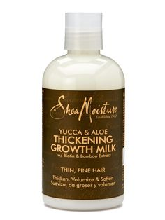 """<p>Don't be intimidated by the hippie-ish name. <a href=""""http://www.target.com/p/sheamoisture-yucca-baobab-thickening-growth-milk-8-fl-oz/-/A-13969525"""">SheaMoisture Yucca & Baobab Thickening Growth Milk</a> ($9.79), an all-natural leave-in conditioner, packs hair-beautifying ingredients like yucca extract to thicken, biotin to strengthen hair follicles, and vitamin-rich baobab oil to fortify.</p>"""