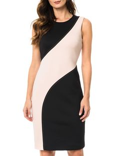 Modest Dresses, Stylish Dresses, Nice Dresses, Casual Dresses, Dresses For Work, Vestido Calvin Klein, African Fashion Dresses, Fashion Outfits, Color Blocking Outfits