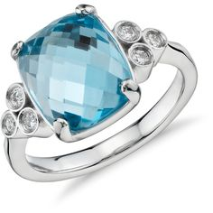 Blue Nile Robert Leser Trinity Blue Topaz and Diamond Ring (1,450 CAD) ❤ liked on Polyvore featuring jewelry, rings, round brilliant diamond ring, polish jewelry, diamond jewelry, blue topaz jewelry and 14k ring