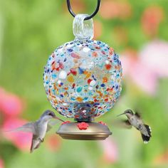 La Fortuna Hummingbird Feeder Round, $40  hand-made from recycled glass    $40