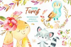 Cute Forest. Collection of animals by StarJam on @creativemarket