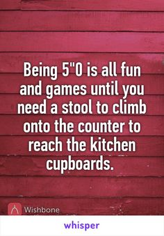 """Being 5""""0 is all fun and games until you need a stool to climb onto the counter to reach the kitchen cupboards."""