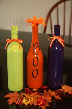 Wine bottle Halloween decor, cause I always have tons of wine bottles....lol