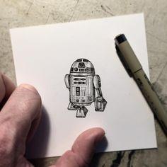 """R2D2. This will all make sense eventually.... #r2d2 #starwars #pen #drawing #art #artist #pauljackson #illustration"""