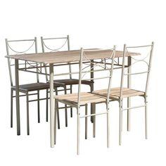Set Manhattan, masa 110 x 70 x 75 cm, natur si 4 scaune 38 x 36 x 86 cm