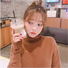 Calmest Dreams Knit Dress - I know you wanna kiss me. Thank you for visiting CHUU. Korean Grill, Hwa Min, Cute Korean Girl, Baby Fairy, Korea Fashion, Ulzzang Girl, Bangs, Short Hair Styles, Beautiful Women