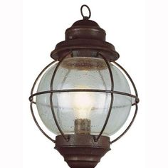 Bel Air Lighting Lighthouse 1-Light Outdoor Rustic Bronze Hanging Lantern with Seeded Glass-69906 RBZ - The Home Depot