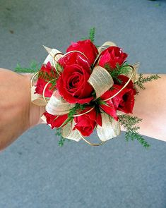 Red Spray Rose Corsage With Gold Wire Accents Rainbow's End Floral www.rainbowsendfloral.com