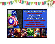 Superhero Invitation, Superhero Party, Captain America Invitation, Marvel Superhero, Superhero Birthday Invite on Etsy, $16.00