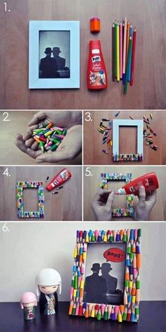 DIY Pencil Picture Frame DIY Picture Frame DIY Home DIY Decor. Well I wouldn& go and break a bunch of perfectly good pencils, but we have enough broken crayons thanks to the kids.Here& a quick and simple way to pretty up an ordinary picture frame and add Diy Photo, Cadre Photo Diy, Kids Crafts, Diy And Crafts, Kids Diy, Easy Crafts, Picture Frame Crafts, Picture Frames, Photo Frames Diy