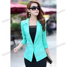 Wholesale Puff Sleeves Solid Color Lapel Collar Polyester Single Button Blazer For Women (GREEN,L), Blazers - Rosewholesale.com