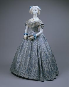 Ball Gown. ca. 1860. American (probably). Silk and Cotton.