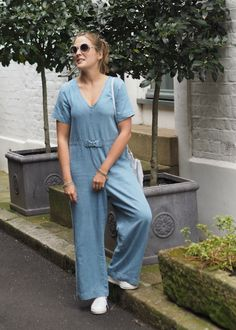 denim jumpsuit Top To Toe, Denim Jumpsuit, Blue Denim, Asos, Dresses, Fashion, Denim Overalls Outfit, Gowns, Moda