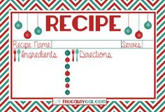 Free printable holiday recipe cards download! Such a good idea to include with holiday baked goods!
