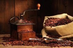 Terry Corey vintage coffee grinder bag coffee beans Home Decoration Canvas Poster >>> Click image for more details.