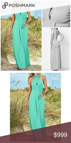 "JUST IN! 💜 Mint CrissCross Maxi Dress Brand new, Boutique Mint CrissCross Maxi Dress  Crisscross features at front with beautiful draping brings out the goddess in you! Sizes: M (8-10), L (12-14), 58"" in length from natural waist Viscose/elastane. Machine washable.  Boutique Prices are FIRM.  My goal is fairness. Bundle discounts on 2+ items via Poshmark Bundle Option  No trades. Dresses Maxi"