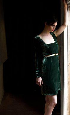 green velvet dress.