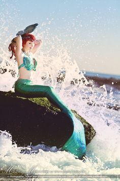 Mermaid on a rock. Sea fan and beaded headpiece. Gorgeous picture, model and costume!    from The Firefly Path