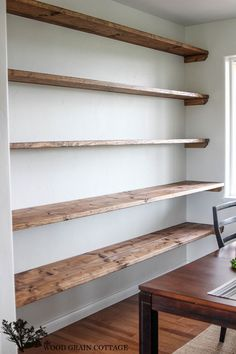 DIY Dining Room Open Shelving - The Wood Grain Cottage. Would be perfect with just the top few and slide a desk in there. I have so many books and nic naks!