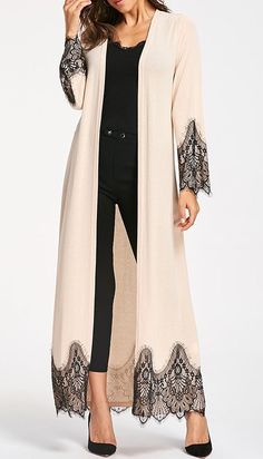 Womens Fashion Tops Outerwear Casual Coats Fashion Long Wool Coat Eyelash Lace Trim Longline Outwear - - Womens Fashion Tops Outerwear Casual Coats Fashion Long Wool Coat Eyelash Lace Trim Longline Outwear Source by Böhmisches Outfit, Kimono Outfit, Cardigan Outfits, Abaya Fashion, Modest Fashion, Fashion Dresses, 20s Fashion, Mode Abaya, Mode Hijab