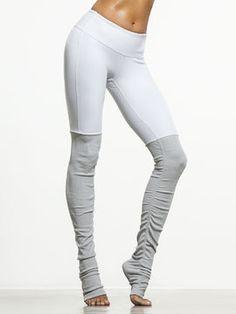 Goddess Ribbed Legging by ALO YOGA in White/Vapor Grey