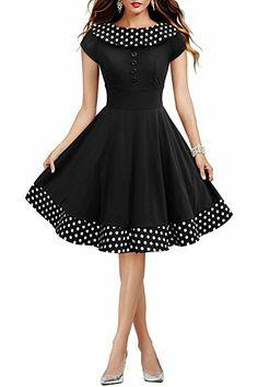BlackButterfly Robe Swing Vintage à Pois 'Rhianna' (Noir FR 42 - L) Pin Up Dresses, Pretty Dresses, Beautiful Dresses, Short Dresses, Girls Dresses, Dresses Dresses, Dance Dresses, Vestidos Vintage, Vintage Dresses