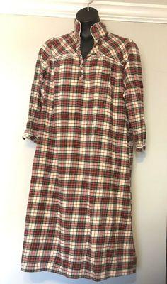 LL BEAN Womens Flannel Sleep Shirt Med Nightgown Red Tartan Plaid Gown   LLBean  Gowns 687a27e04