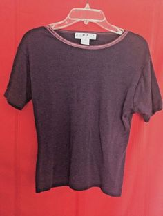 One Step Up Wine Ribbed Top Rayon Neck Trim Size M Short Sleeves Scoop Neck #OneStepUp #KnitTop #Career