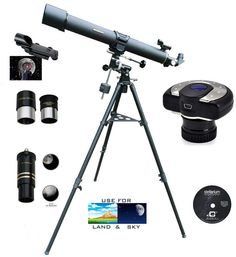 Cassini 900mm x 80mm Astronomical Refractor Telescope Kit with German Equatorial Mount Tripod and Camera